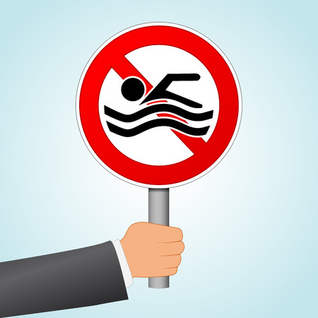 Illustration of no swimming sign concept
