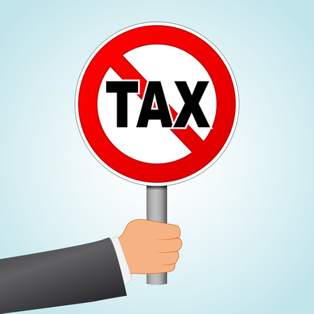 Illustration of stop tax concept with sign