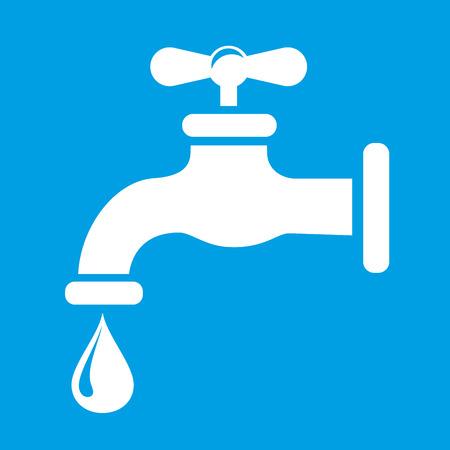 leak: Illustration of white faucet icon on blue background Illustration