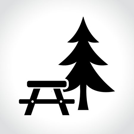 Illustratie van picknicktafel pictogram.