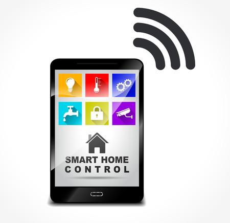 mobile app: Illustration of smart home control concept