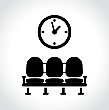 Illustration of waiting room icon on white background