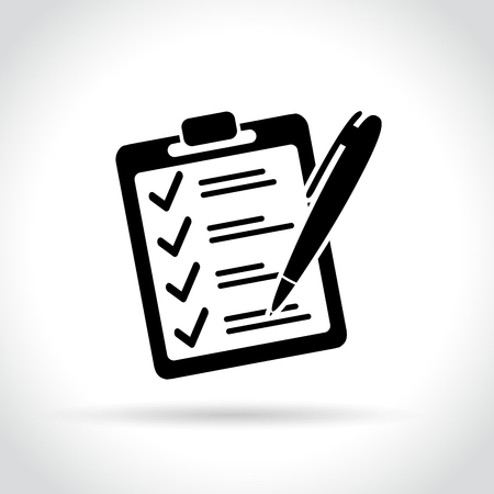 Illustration of checklist icon on white background