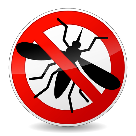 Illustration of no mosquito sign icon on white background