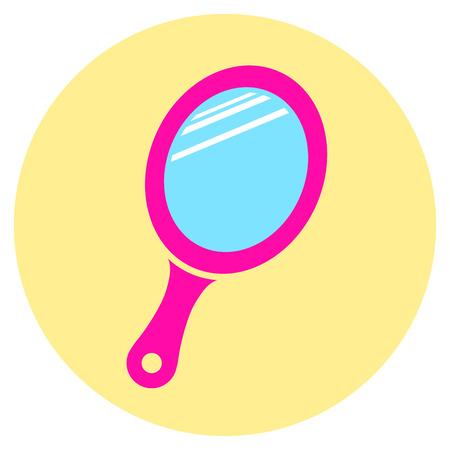 Illustration der rosa Spiegel runden Symbol Standard-Bild - 84558116