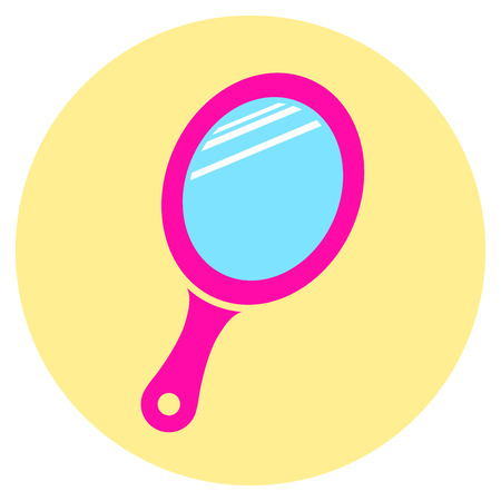 look in mirror: Illustration of pink mirror round icon