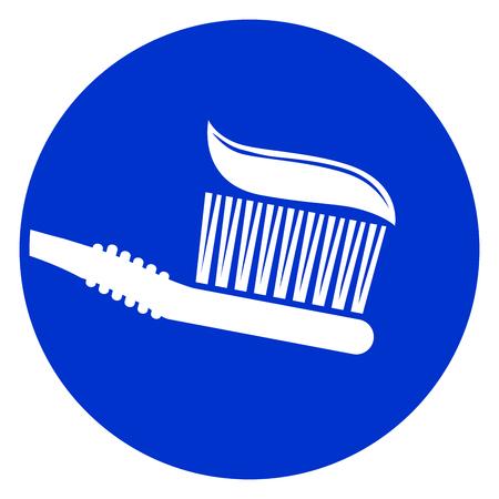Illustration of tooth brush blue circle icon
