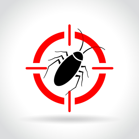 Illustration of cockroach target icon concept