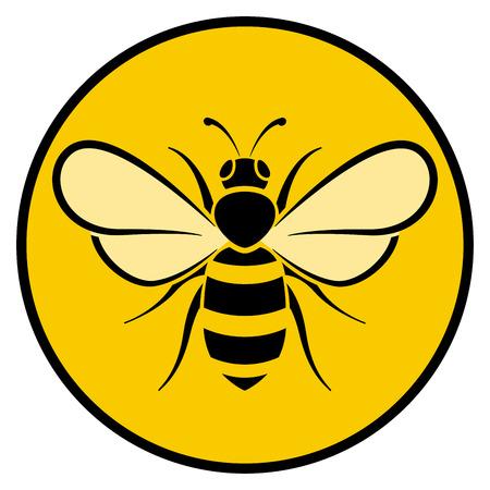 Illustration of bee circle yellow icon