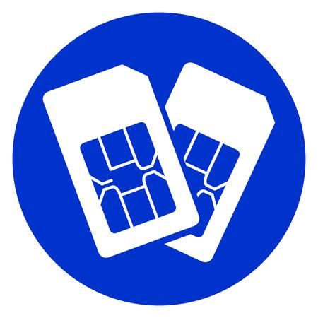 Illustration of dual sim blue circle icon