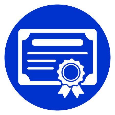 Illustration der blauen Kreissymbol Zertifikat Vektorgrafik