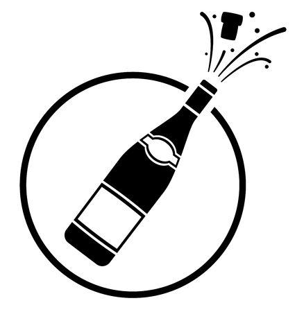 Illustration of champagne bottle icon concept  イラスト・ベクター素材