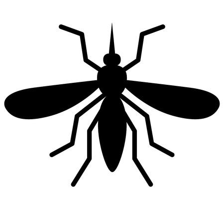 Illustration of black mosquito on white background