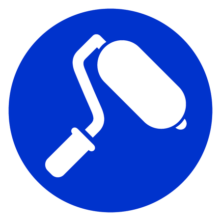 Illustration of paint roller blue icon