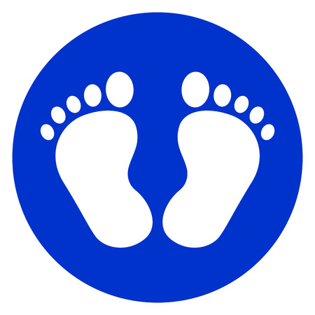 Illustration of baby footprint blue icon