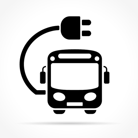 Illustration of electric bus icon on white background Reklamní fotografie - 86078351
