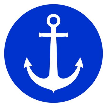 Illustration of anchor blue circle icon