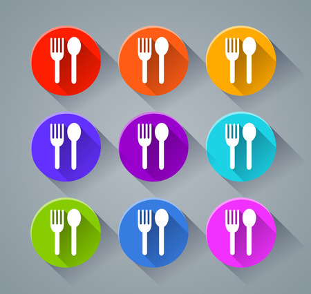 Illustration of restaurant icons with various colors Çizim