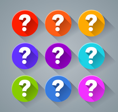 Illustration of question mark icons with various colors