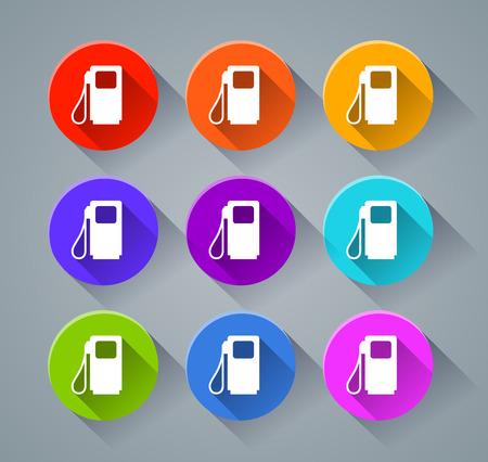Ilustración de los iconos de la bomba de combustible con varios colores