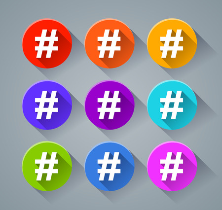 irc: Illustration of hashtag icons with various colors