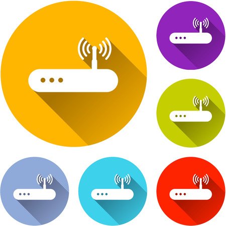 Illustration of router circle icons set Ilustrace