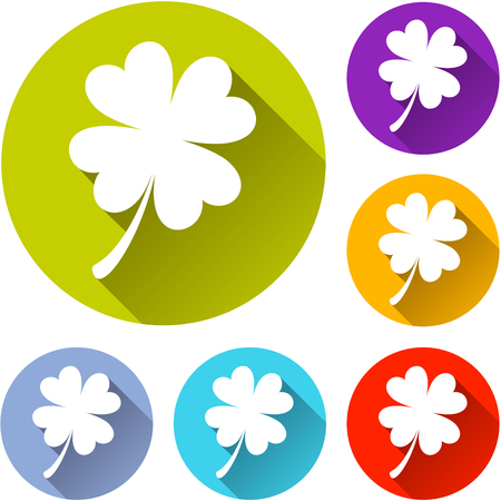 red clover: Illustration of clover circle icons set