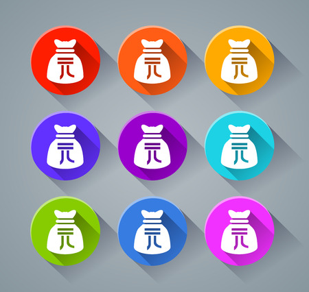 Illustration of yuan sack icons with various colors Illustration