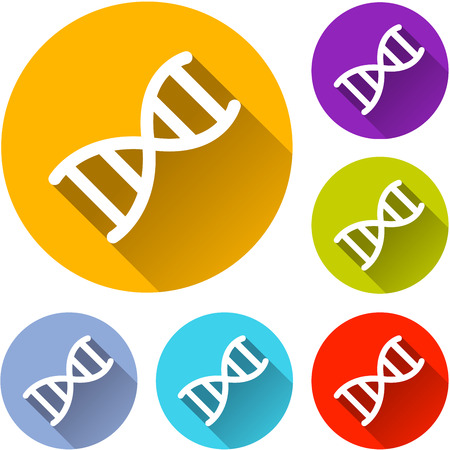 Illustration of dna circle icons set