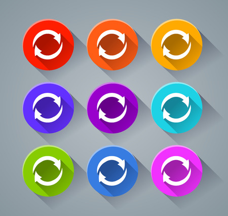 Illustration of arrows syncing icons with various colors