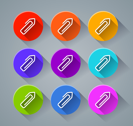 Illustration of paper clip icons with various colors