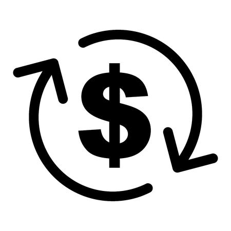 Illustrazione dell'icona dei soldi di rimborso su fondo bianco. Archivio Fotografico - 87350422
