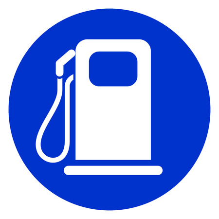Ilustración del icono de círculo azul de pum de combustible.