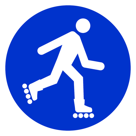 Illustratie van pictogram van de rolschaats het blauwe cirkel. Vector Illustratie