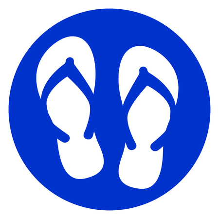 Illustration of flip flop blue circle icon.