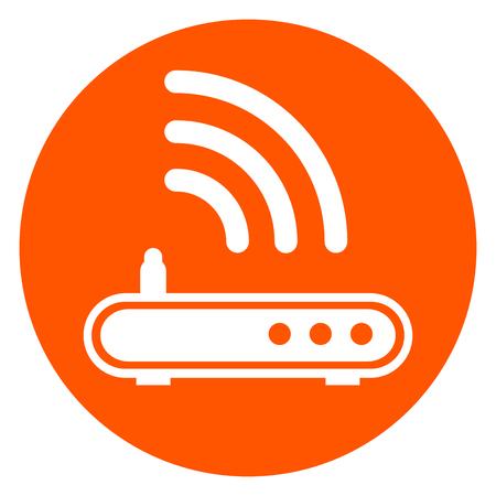 Illustration of router orange circle icon. Illustration
