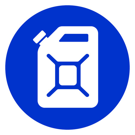 gas can: Illustration of jerry can blue circle icon.