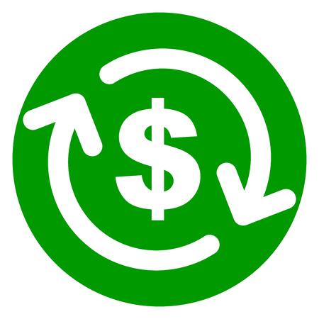 Illustrazione dell'icona del cerchio verde dei soldi di rimborso Archivio Fotografico - 88355141