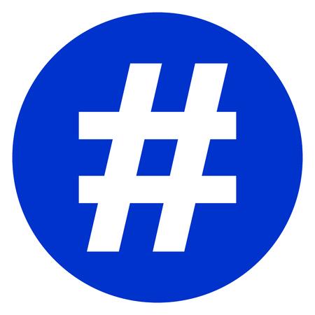 Illustratie van hashtag cirkel blauwe pictogram