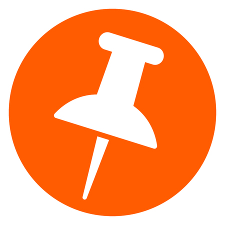 Illustration of push pin icon orange circle icon Illustration