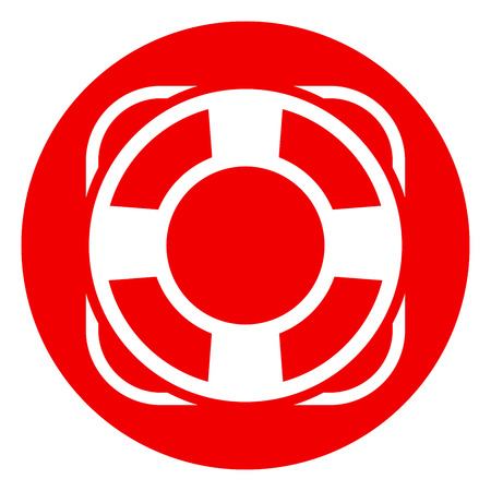 Illustration of life buoy red circle icon