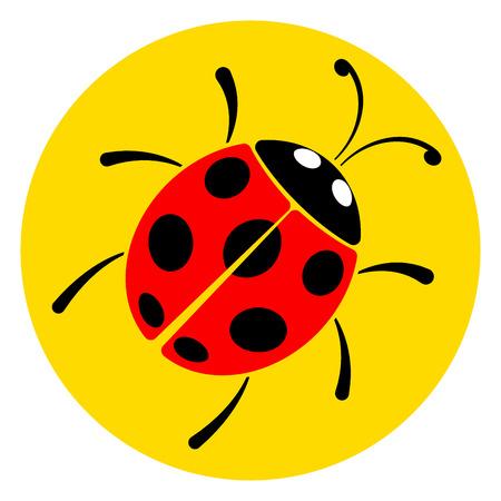 Illustration of lady bug circle icon