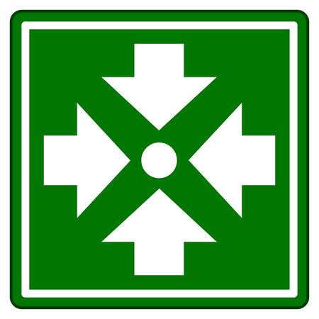 Ilustración del signo verde del punto de ensamblaje
