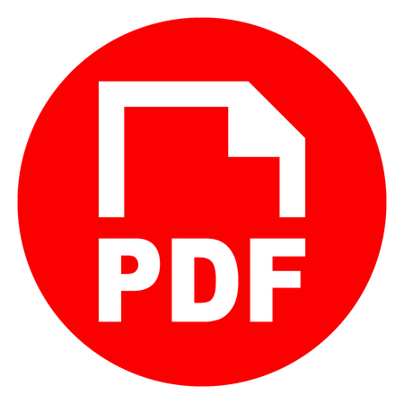Illustration of pdf circle red icon