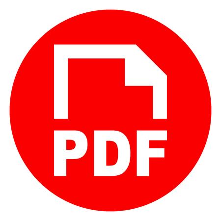 Ilustración del icono rojo del círculo pdf Ilustración de vector