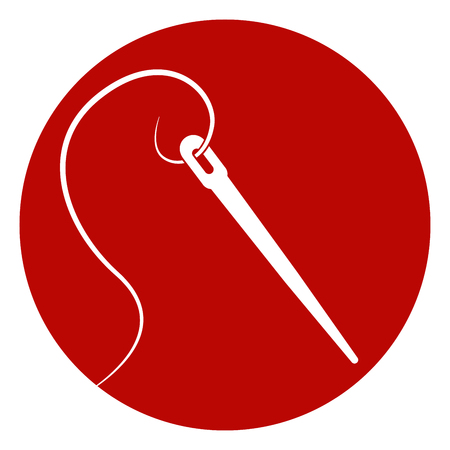 Illustration of needle in a red circle icon concept Vettoriali