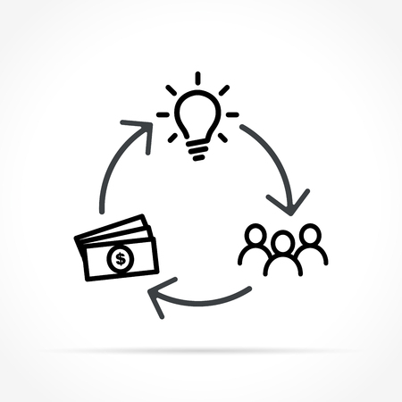 Illustration of crowdfunding icon on white background