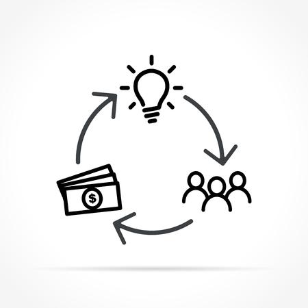 Illustration of crowdfunding icon on white background