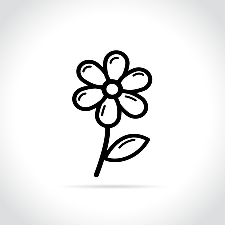 Illustration of flower icon on white background Çizim