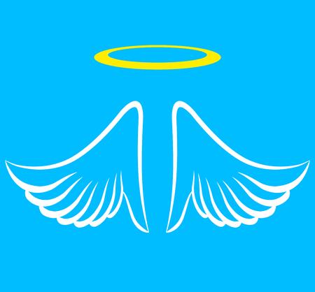 Illustratie van engelenvleugels met aureool Stock Illustratie